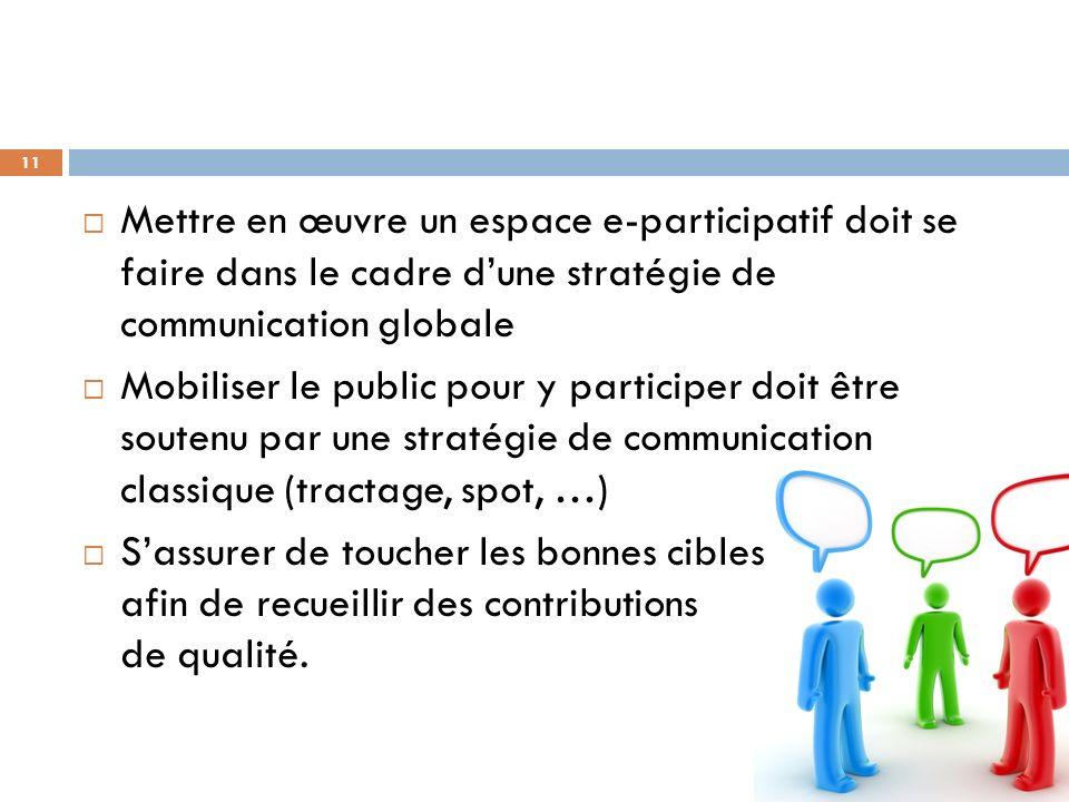 Mettre en œuvre un espace e-participatif doit se faire dans le cadre d'une stratégie de communication globale