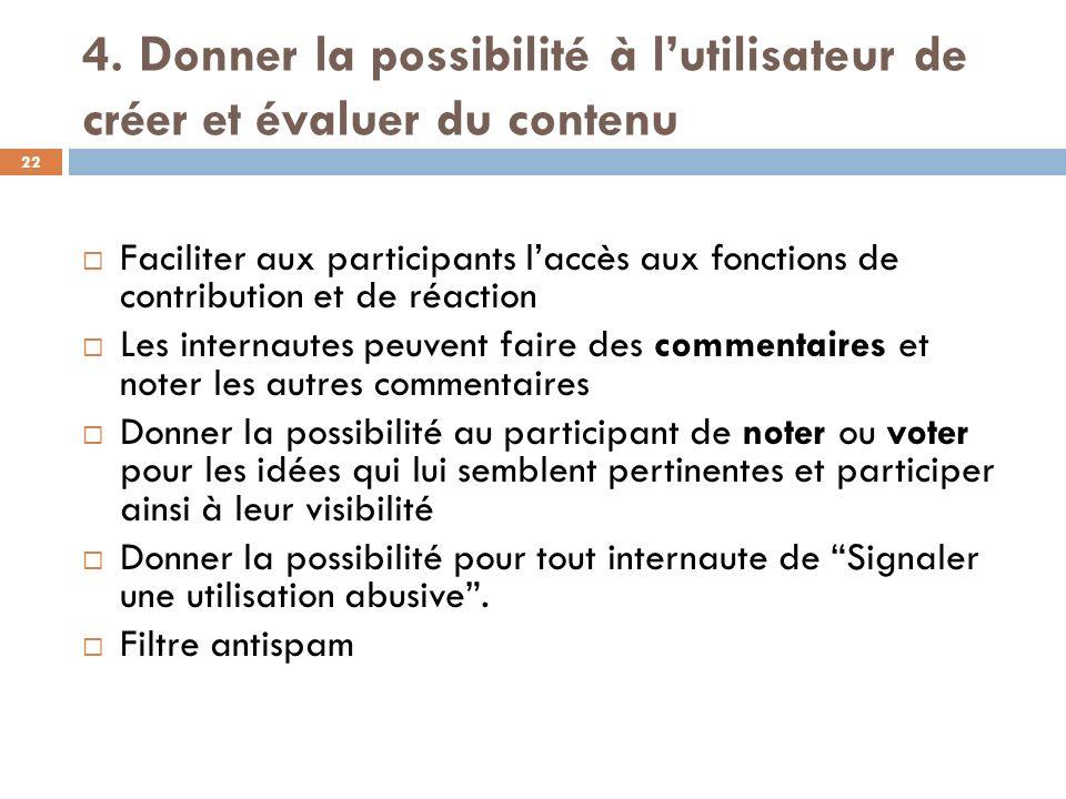 4. Donner la possibilité à l'utilisateur de créer et évaluer du contenu