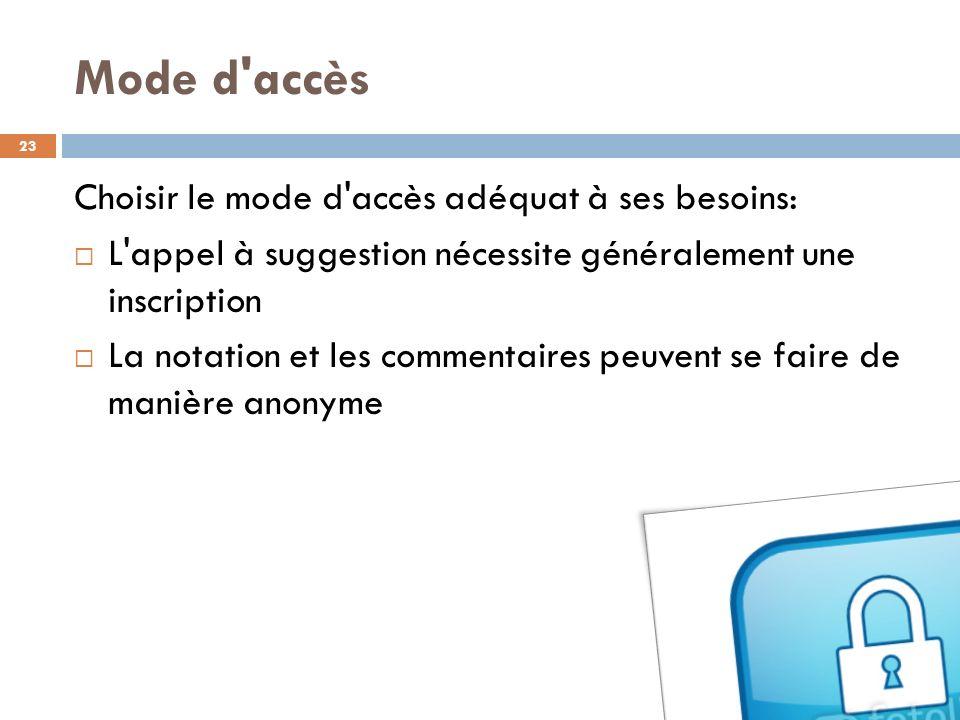 Mode d accès Choisir le mode d accès adéquat à ses besoins: