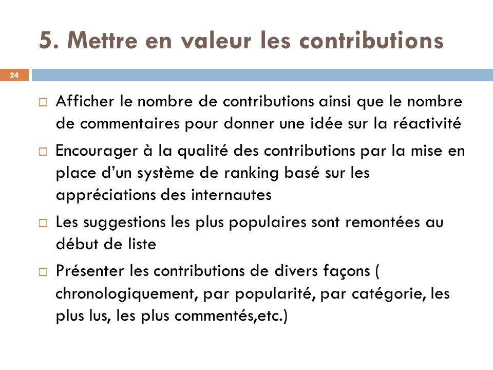 5. Mettre en valeur les contributions