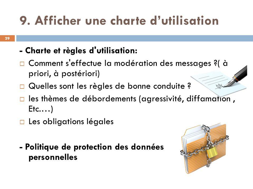 9. Afficher une charte d'utilisation