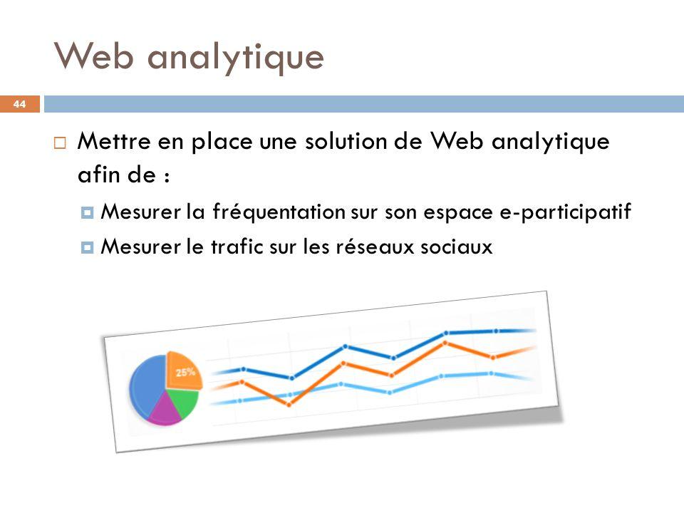 Web analytique Mettre en place une solution de Web analytique afin de : Mesurer la fréquentation sur son espace e-participatif.