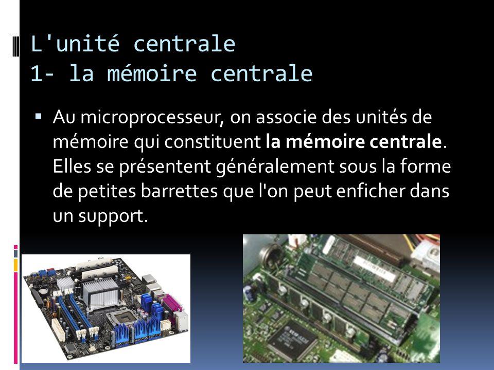 L unité centrale 1- la mémoire centrale