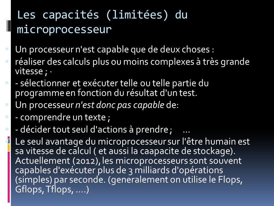 Les capacités (limitées) du microprocesseur
