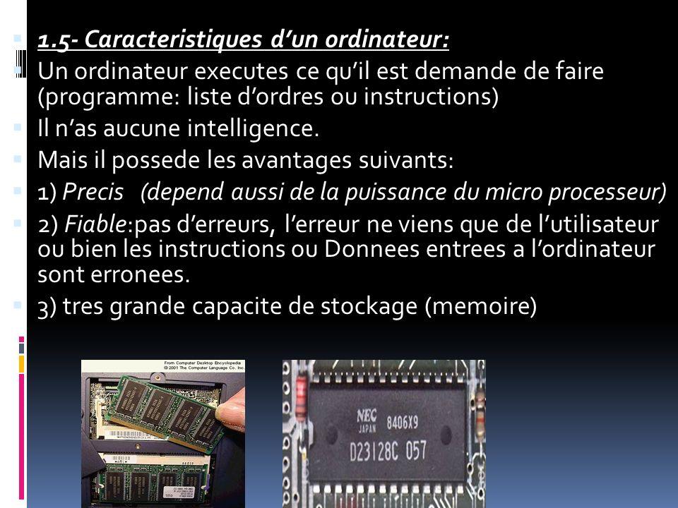 1.5- Caracteristiques d'un ordinateur: