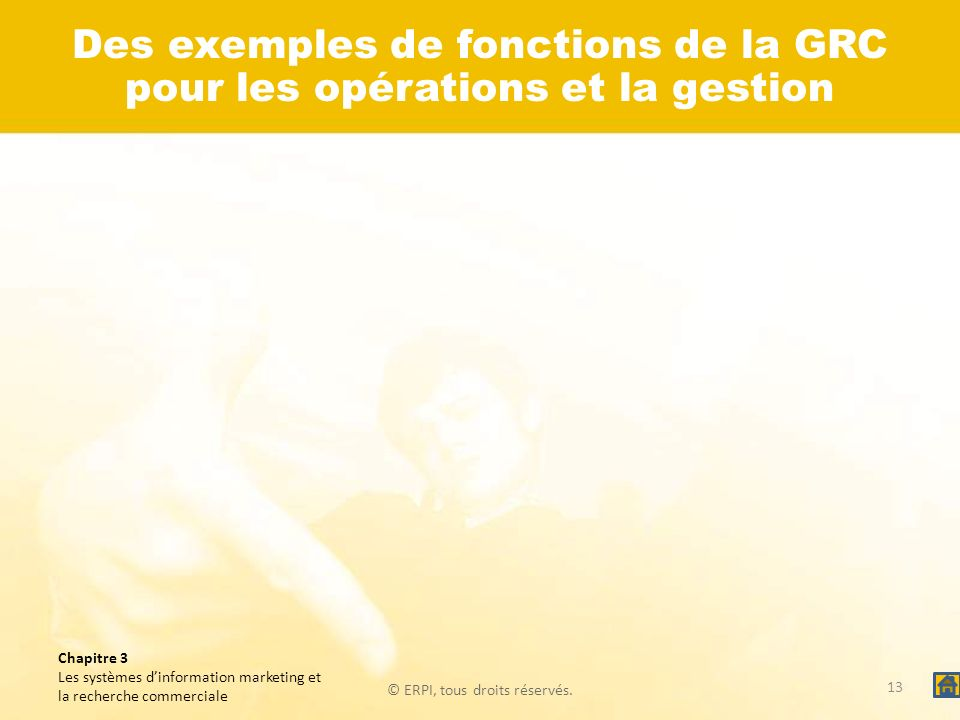 Des exemples de fonctions de la GRC pour les opérations et la gestion