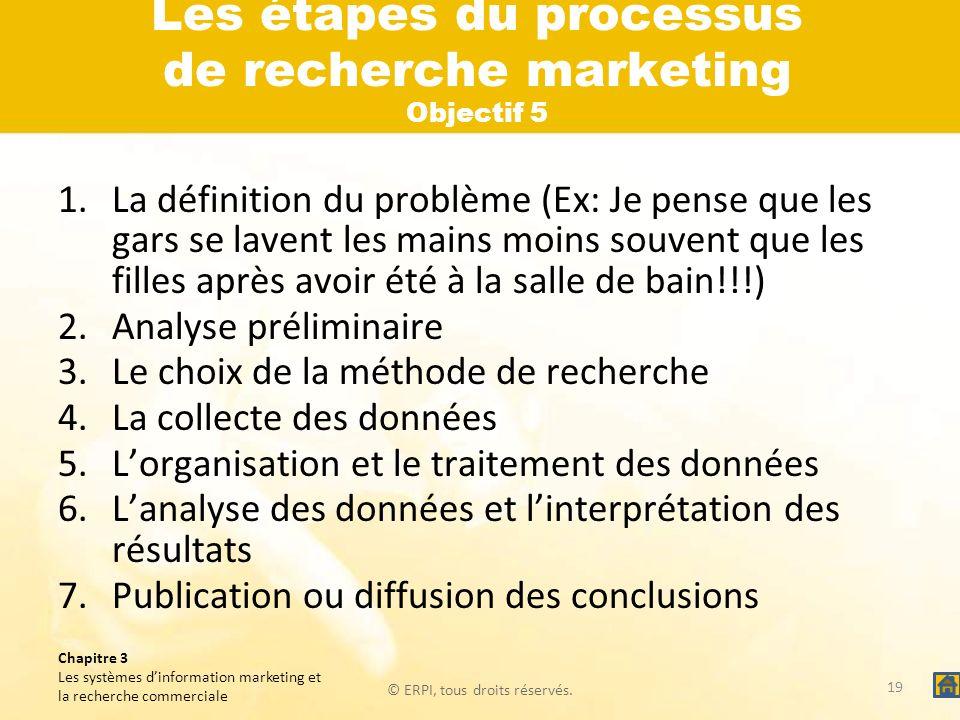 Les étapes du processus de recherche marketing Objectif 5