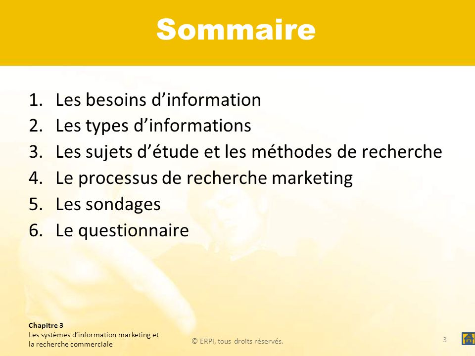 Sommaire Les besoins d'information Les types d'informations