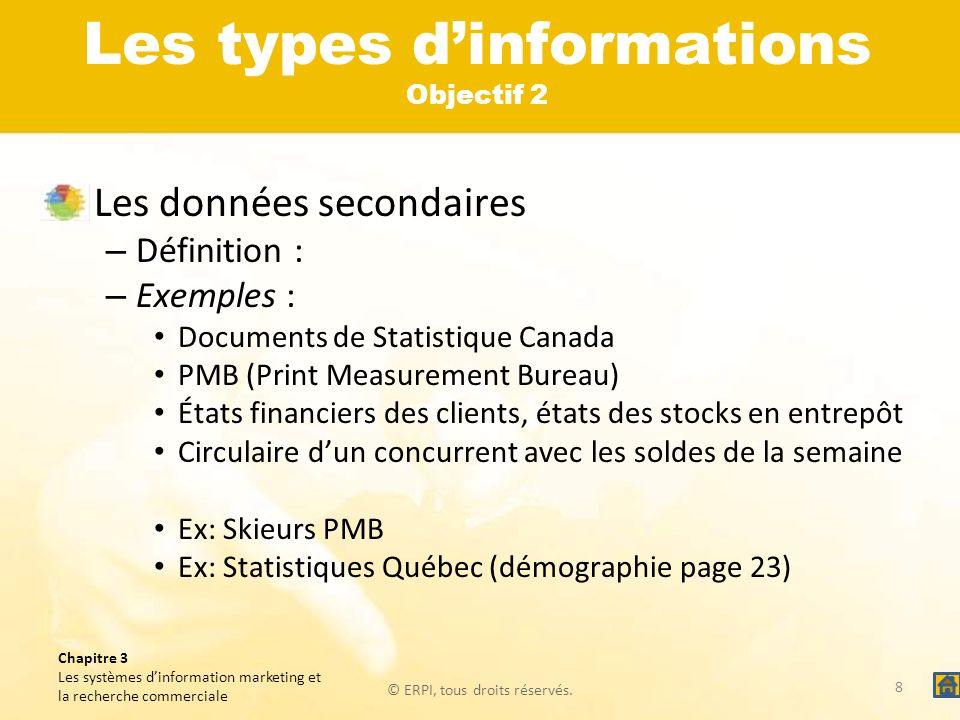 Les types d'informations Objectif 2