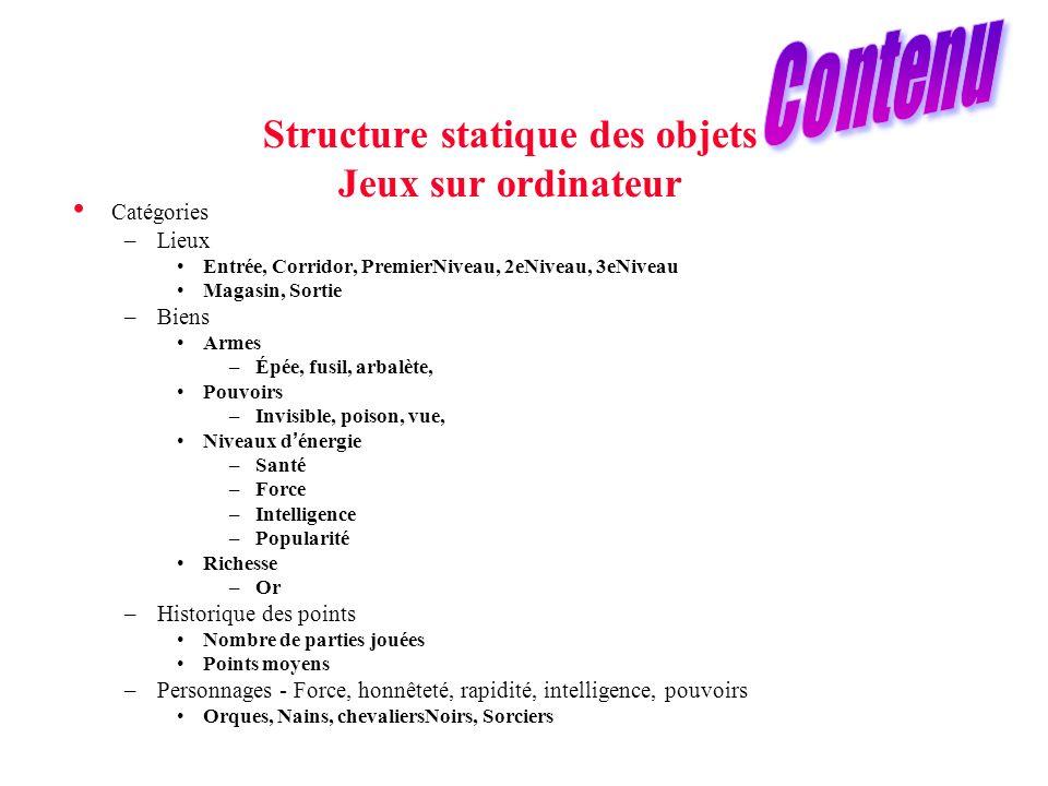 Structure statique des objets Jeux sur ordinateur