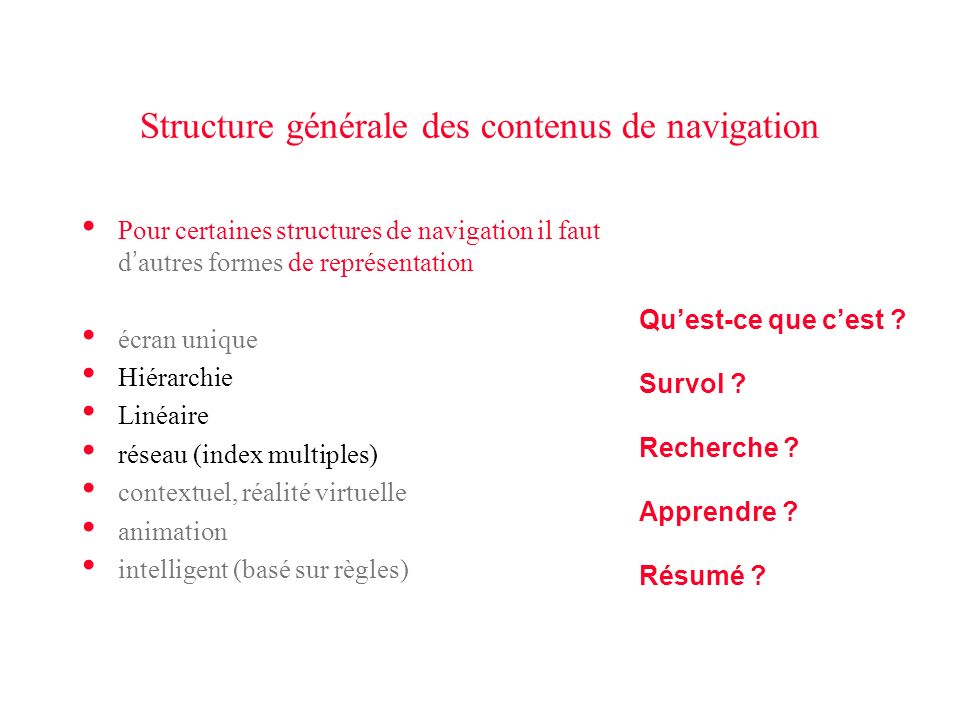 Structure générale des contenus de navigation