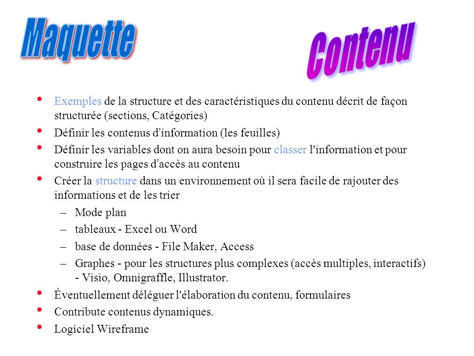 Contenu Maquette. Exemples de la structure et des caractéristiques du contenu décrit de façon structurée (sections, Catégories)