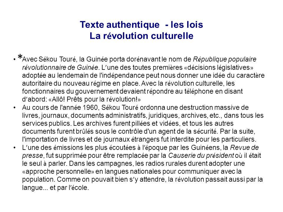 Texte authentique - les lois La révolution culturelle
