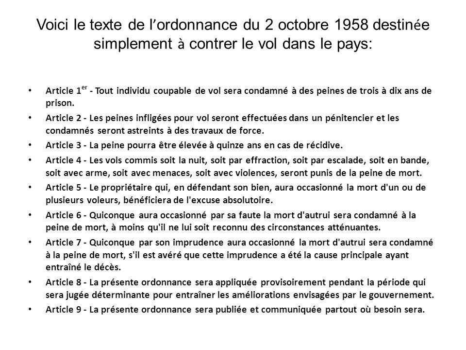 Voici le texte de l'ordonnance du 2 octobre 1958 destinée simplement à contrer le vol dans le pays: