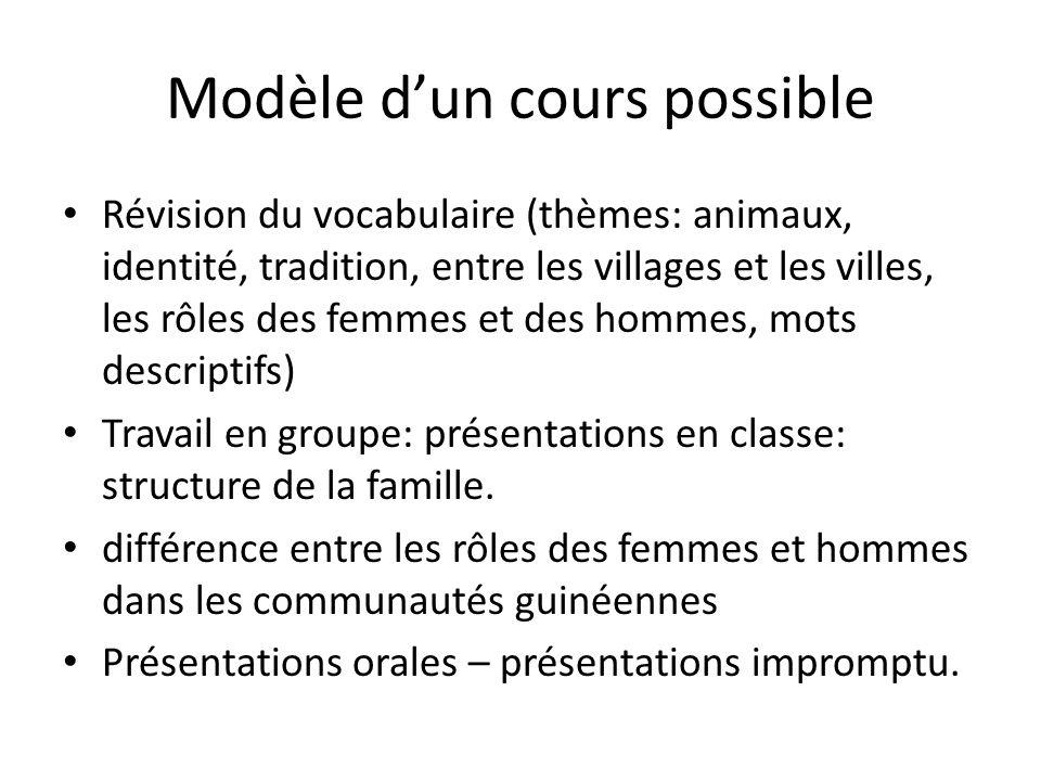 Modèle d'un cours possible
