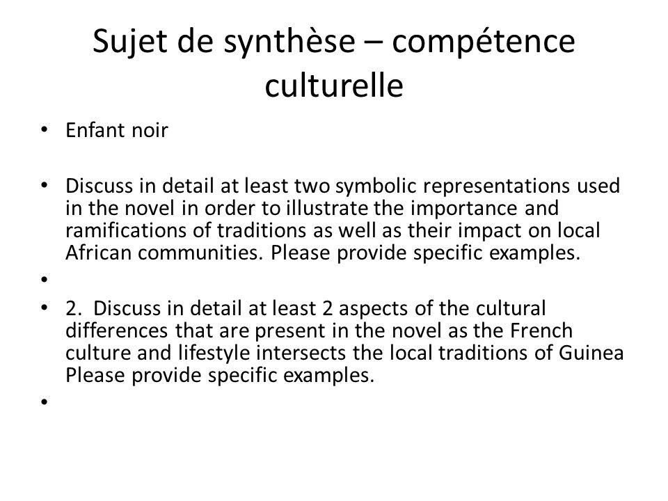 Sujet de synthèse – compétence culturelle