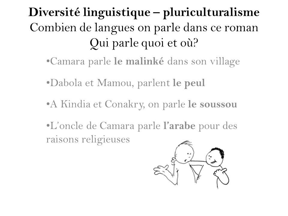 Diversité linguistique – pluriculturalisme Combien de langues on parle dans ce roman Qui parle quoi et où