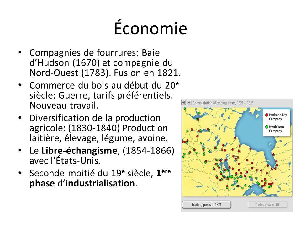 Économie Compagnies de fourrures: Baie d'Hudson (1670) et compagnie du Nord-Ouest (1783). Fusion en 1821.