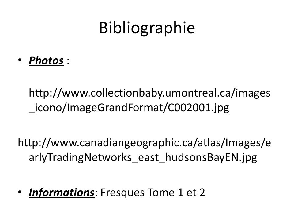 Bibliographie Photos :