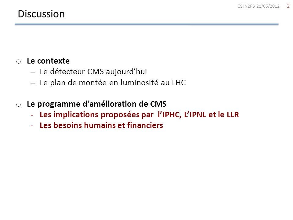 Discussion Le contexte Le détecteur CMS aujourd'hui