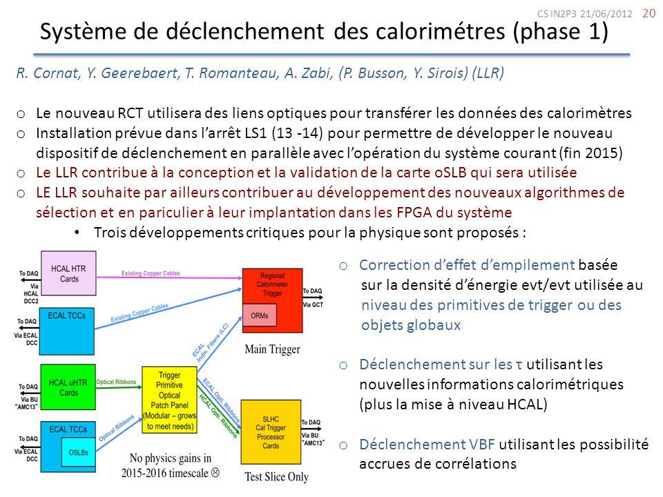 Système de déclenchement des calorimétres (phase 1)