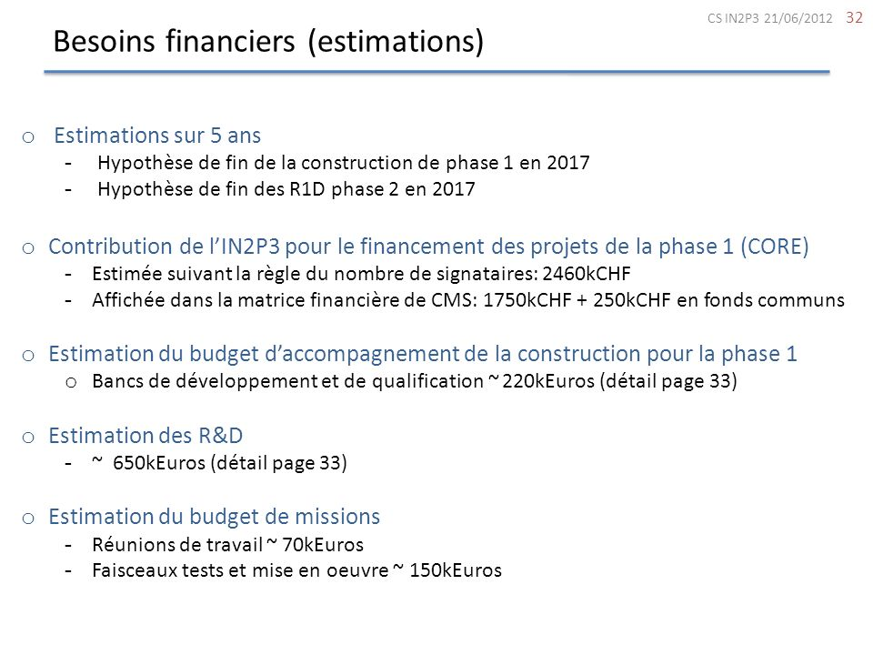 Besoins financiers (estimations)