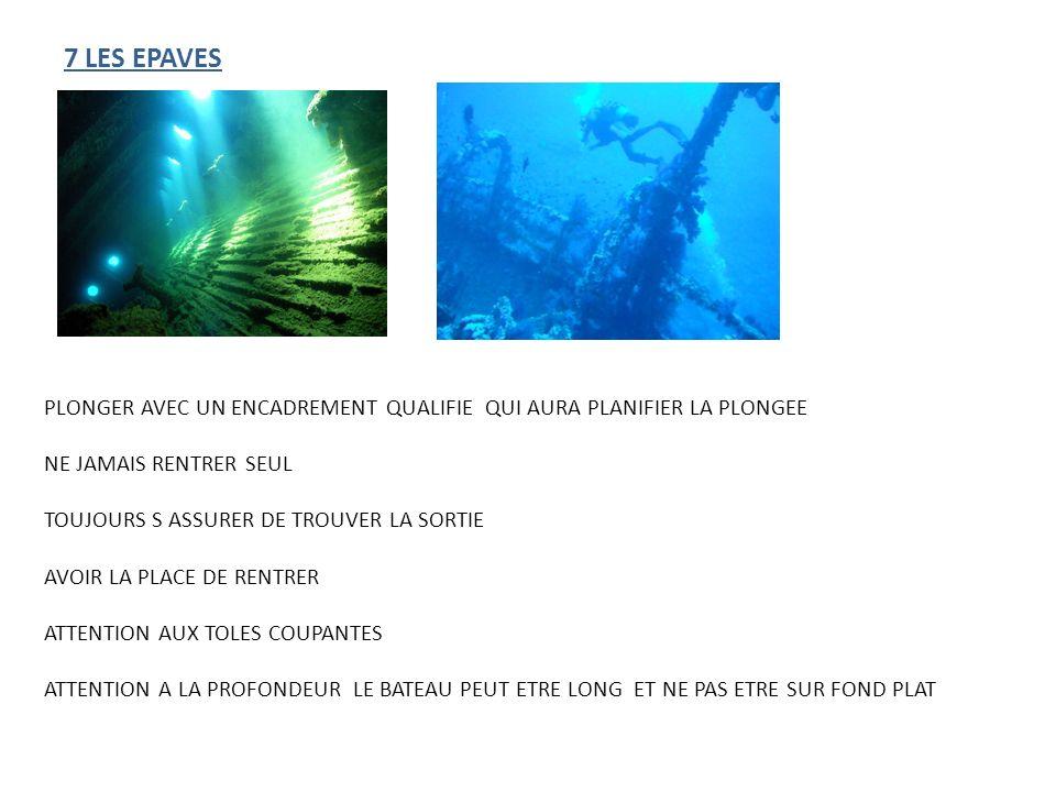 7 LES EPAVES PLONGER AVEC UN ENCADREMENT QUALIFIE QUI AURA PLANIFIER LA PLONGEE. NE JAMAIS RENTRER SEUL.