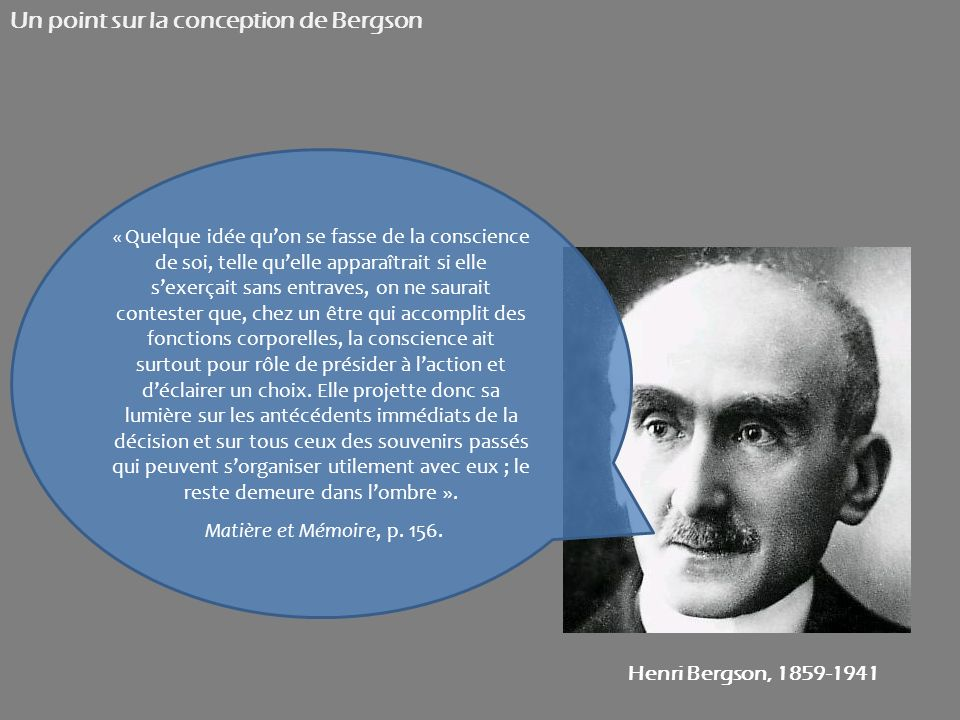 Un point sur la conception de Bergson