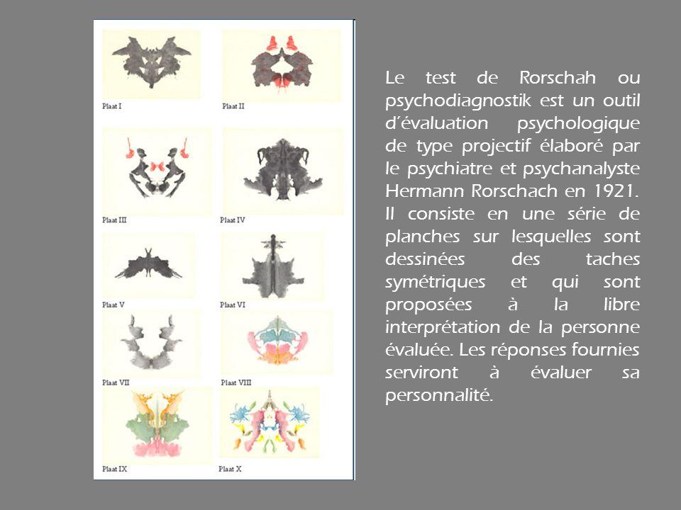Le test de Rorschah ou psychodiagnostik est un outil d'évaluation psychologique de type projectif élaboré par le psychiatre et psychanalyste Hermann Rorschach en 1921.
