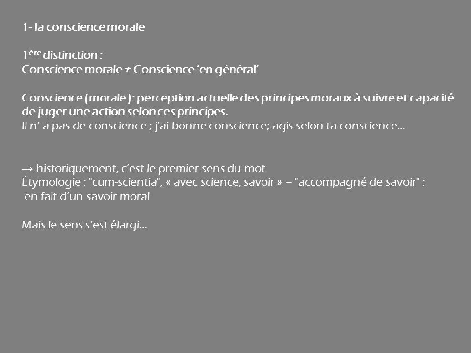 1- la conscience morale 1ère distinction : Conscience morale ≠ Conscience 'en général'