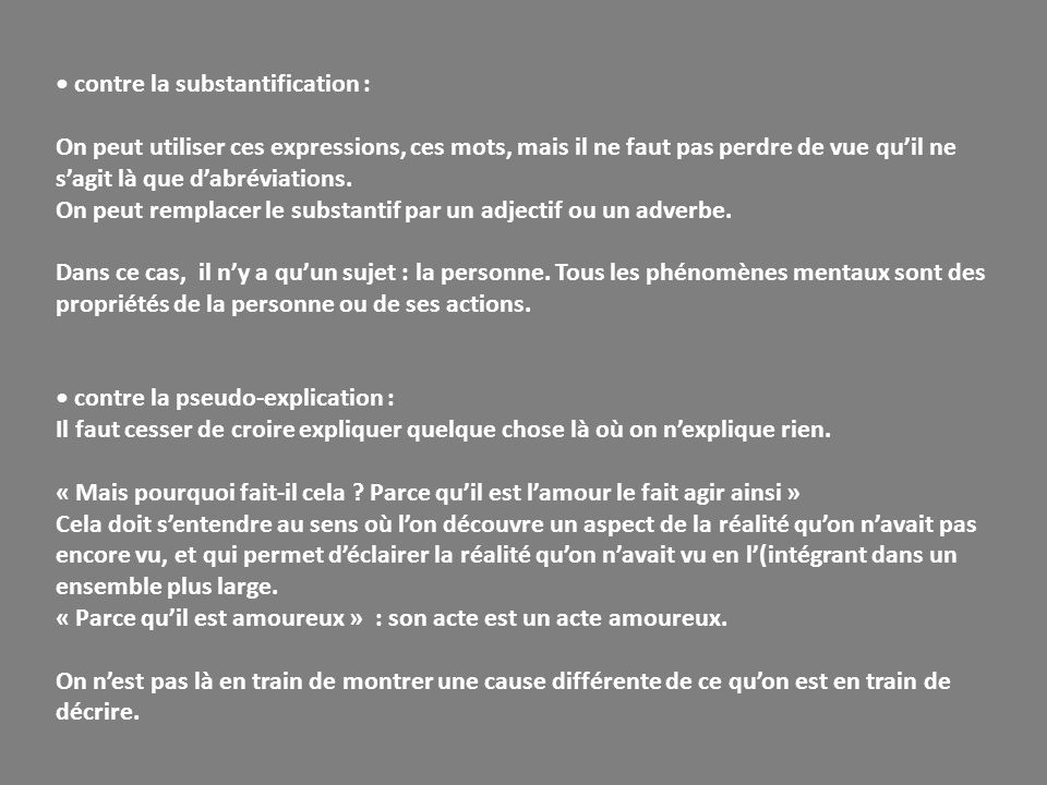 • contre la substantification :