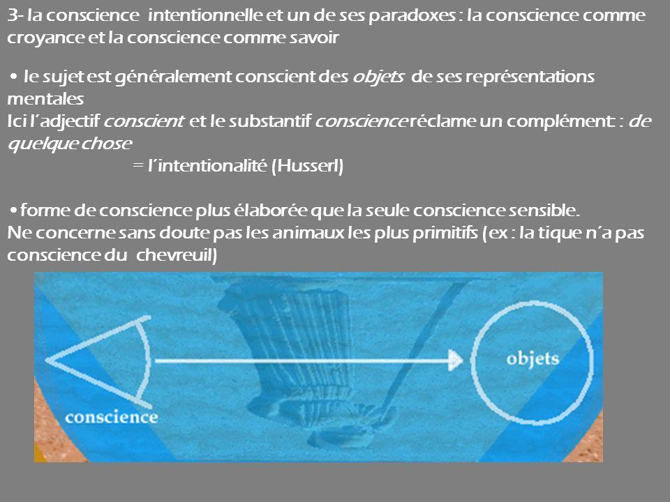 3- la conscience intentionnelle et un de ses paradoxes : la conscience comme croyance et la conscience comme savoir