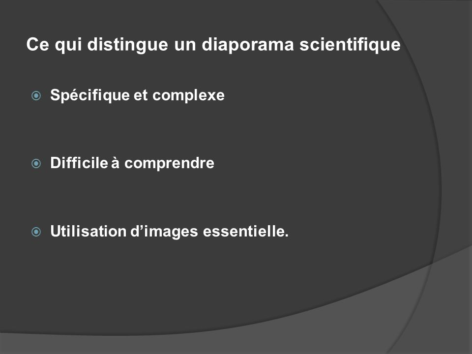 Ce qui distingue un diaporama scientifique