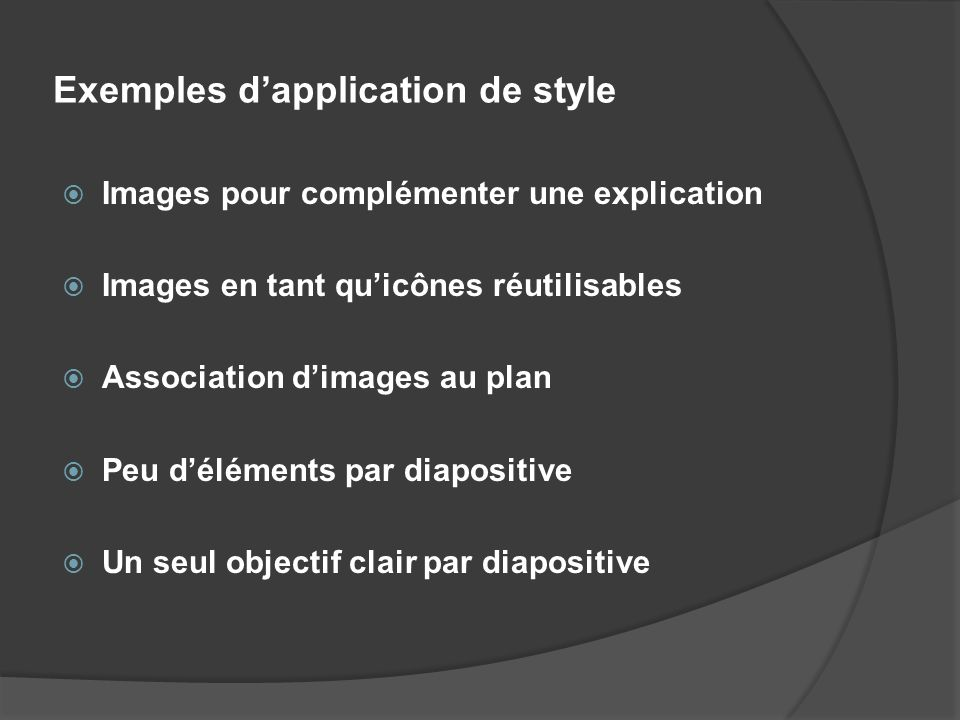 Exemples d'application de style