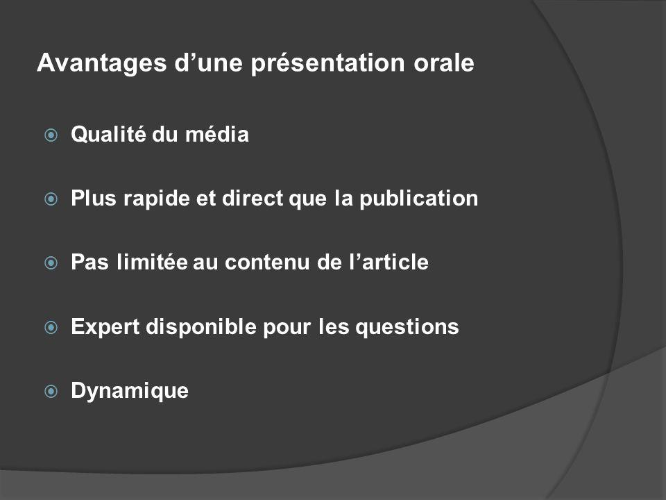 Avantages d'une présentation orale