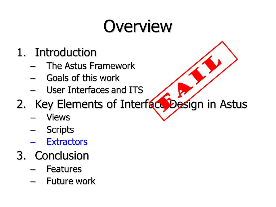 Overview FAIL Introduction Key Elements of Interface Design in Astus