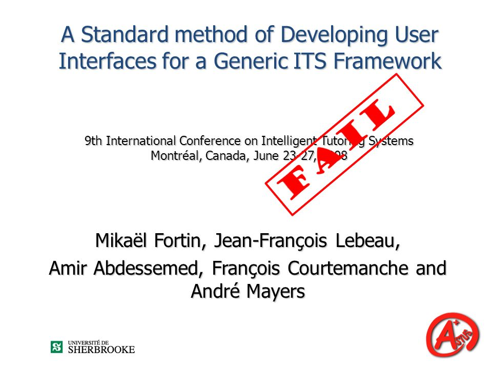 A Standard method of Developing User Interfaces for a Generic ITS Framework
