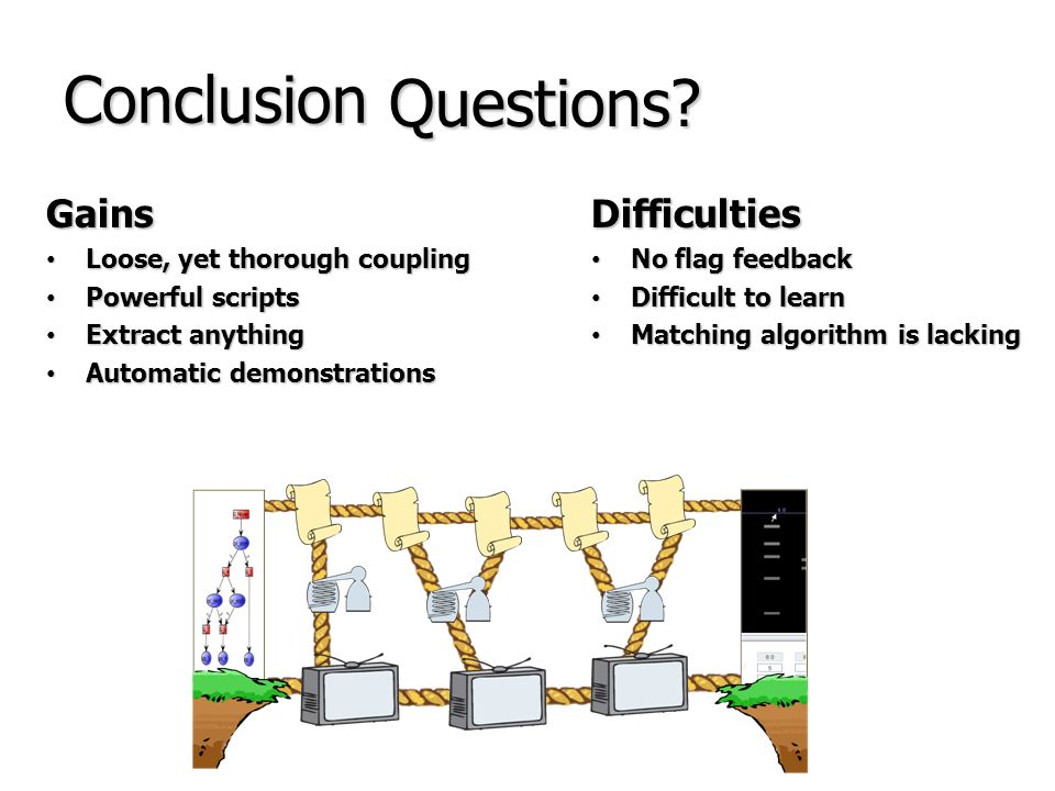 Conclusion Questions Gains Difficulties Loose, yet thorough coupling