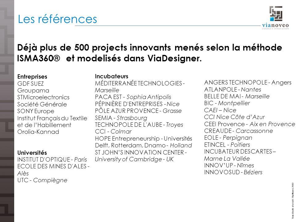 Les références Déjà plus de 500 projects innovants menés selon la méthode ISMA360® et modelisés dans ViaDesigner.