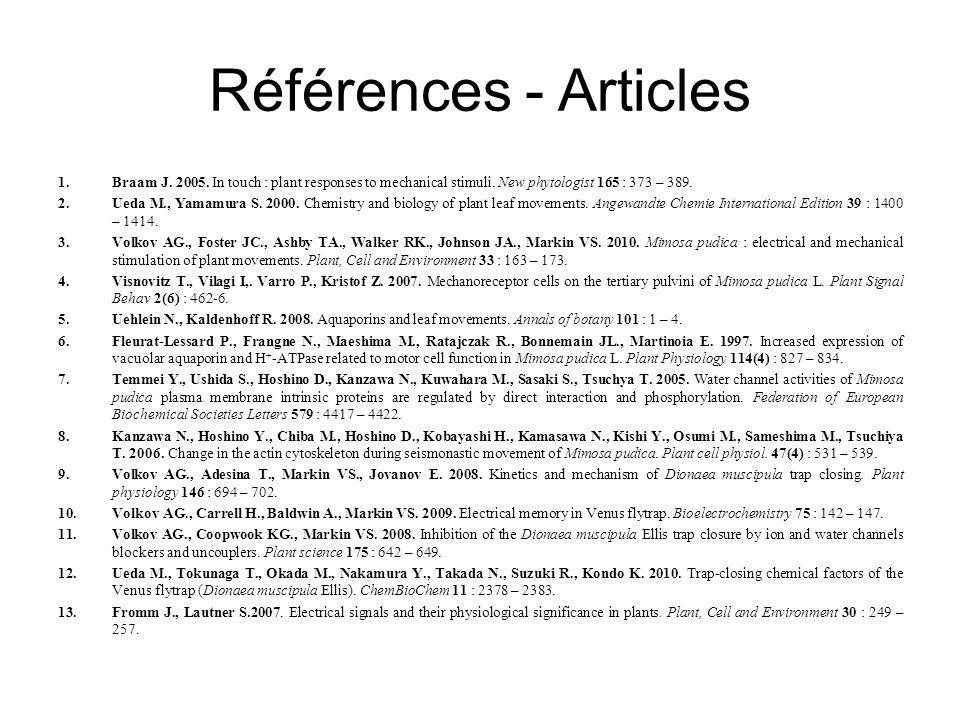 Références - Articles Braam J. 2005. In touch : plant responses to mechanical stimuli. New phytologist 165 : 373 – 389.