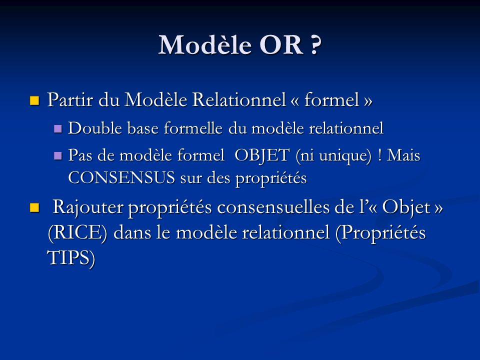 Modèle OR Partir du Modèle Relationnel « formel »