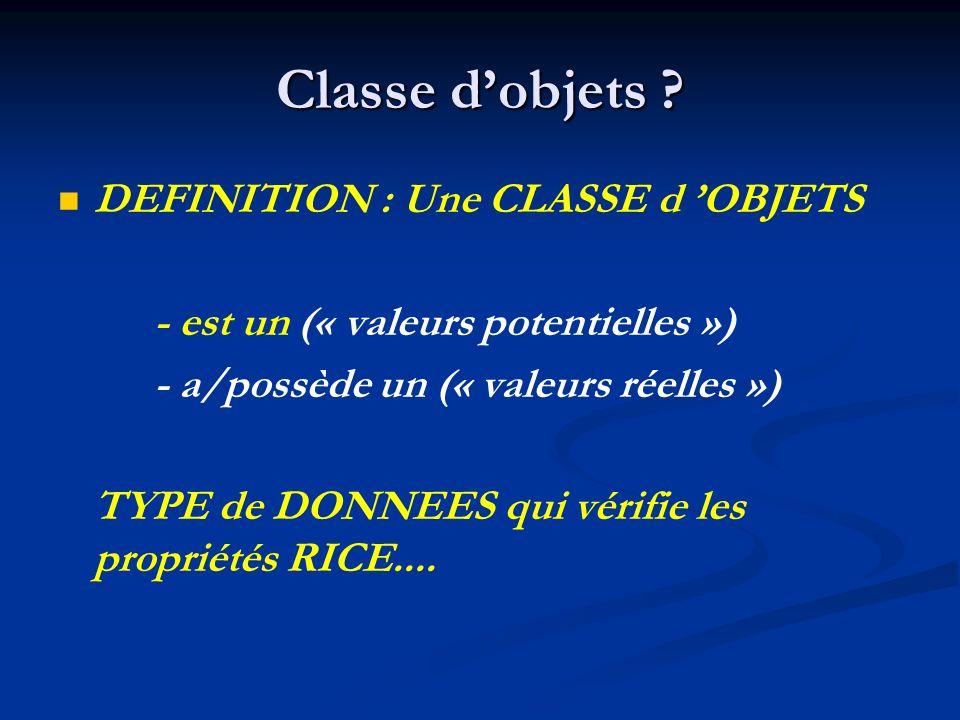 Classe d'objets DEFINITION : Une CLASSE d 'OBJETS