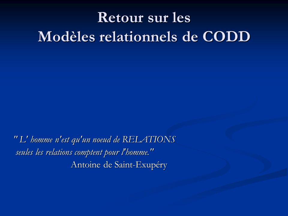 Retour sur les Modèles relationnels de CODD