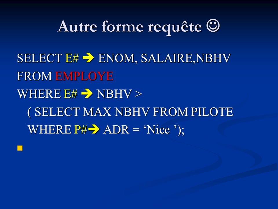Autre forme requête  SELECT E#  ENOM, SALAIRE,NBHV FROM EMPLOYE