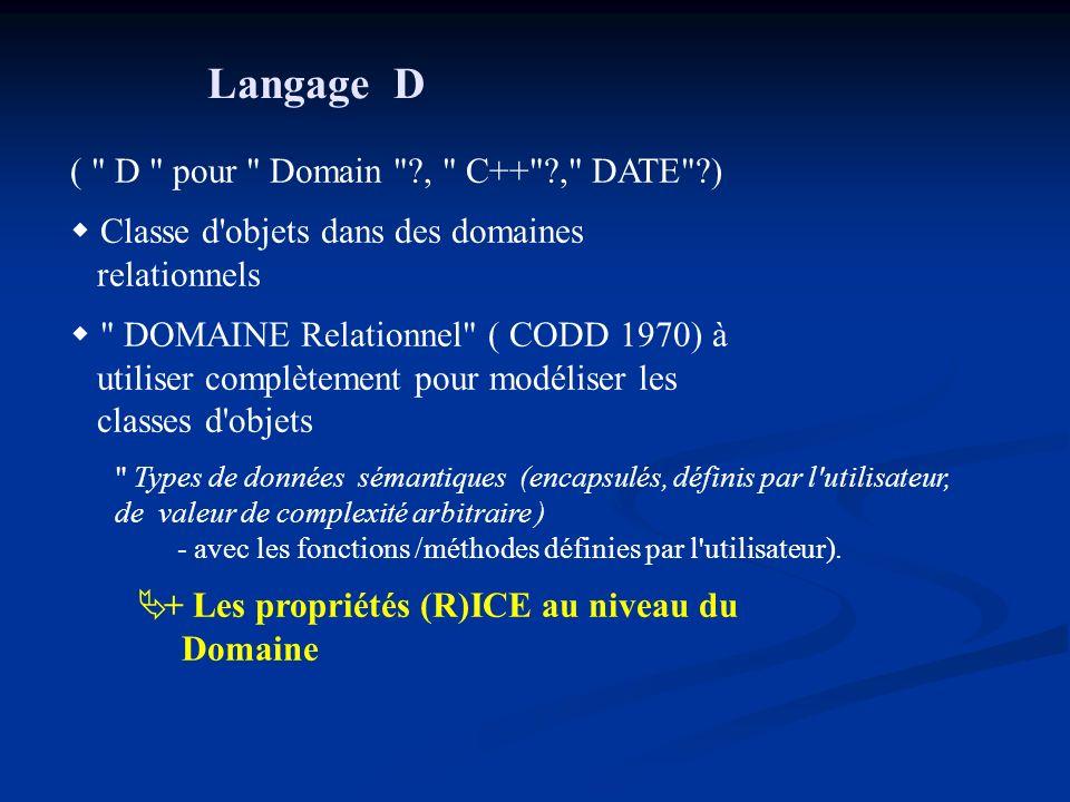 Langage D ( D pour Domain , C++ , DATE )
