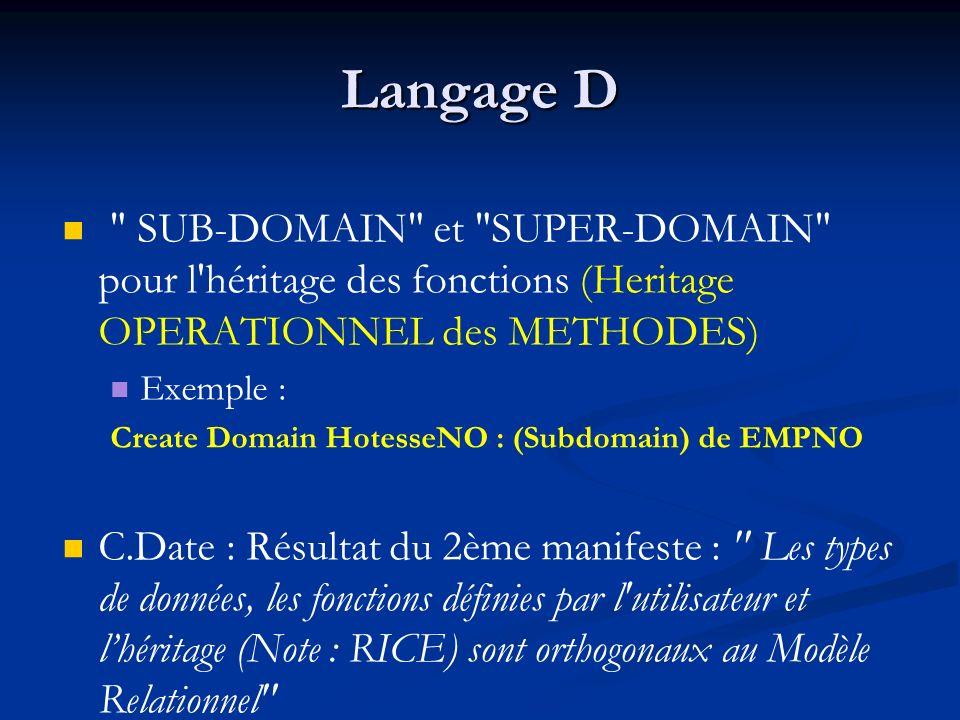 Langage D SUB-DOMAIN et SUPER-DOMAIN pour l héritage des fonctions (Heritage OPERATIONNEL des METHODES)