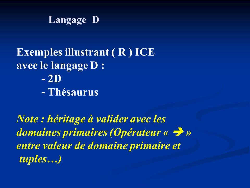 Exemples illustrant ( R ) ICE avec le langage D : - 2D - Thésaurus