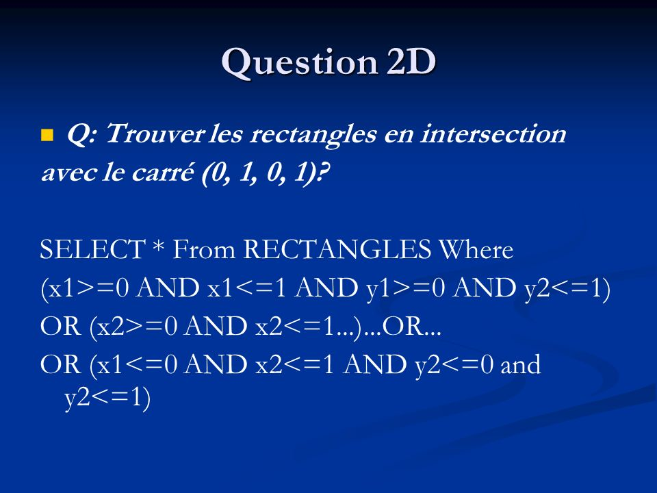 Question 2D Q: Trouver les rectangles en intersection