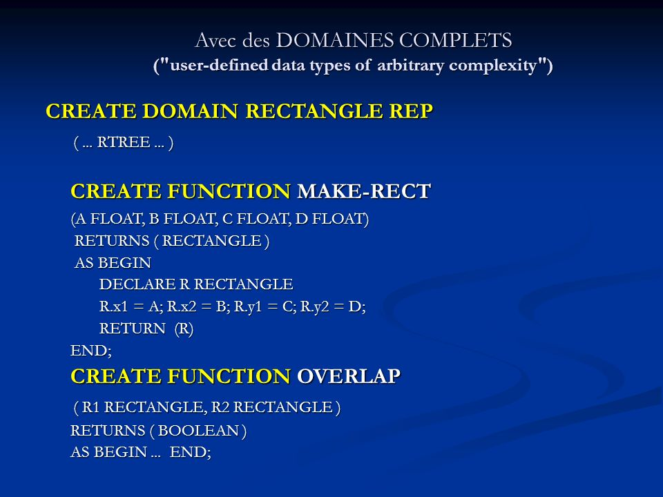 CREATE DOMAIN RECTANGLE REP ( ... RTREE ... )