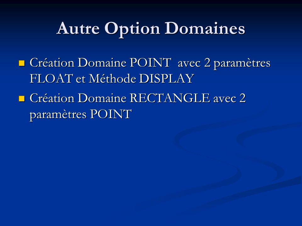Autre Option Domaines Création Domaine POINT avec 2 paramètres FLOAT et Méthode DISPLAY.